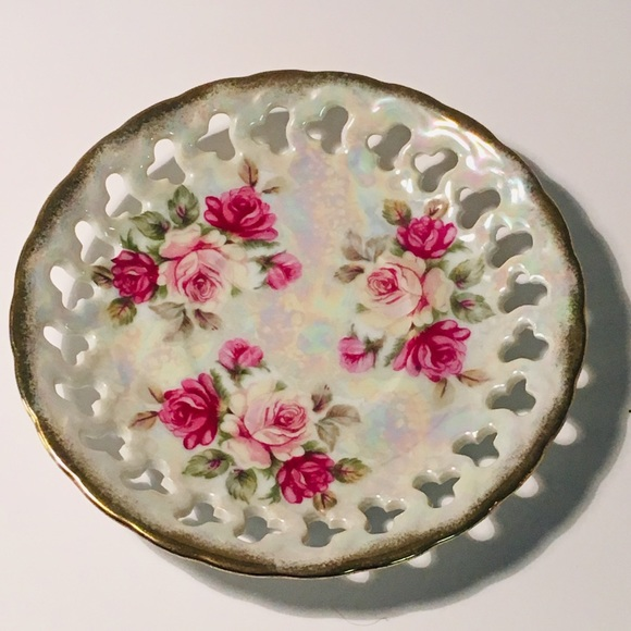 Shafford Dining Lusterware 6 Reticulated Plate With Rose